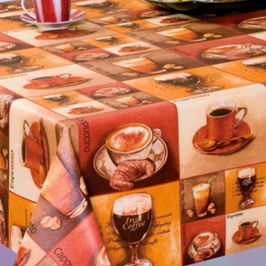 CAPPUCCINO - marron, teflonbehandlet akryldug med kaffe.
