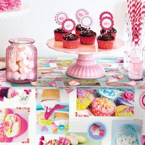 Cupcake, voksdug med festlige, fornøjelige og farverige kager