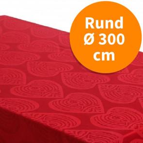 Rund damaskvævet juledug - Damask Hearts rød, Ø 250 cm