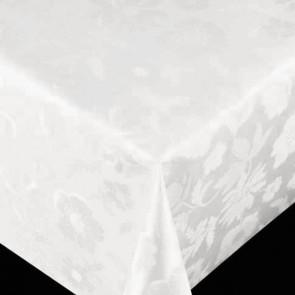 Diamond damask præget voksdug i hvid, 140 cm bred