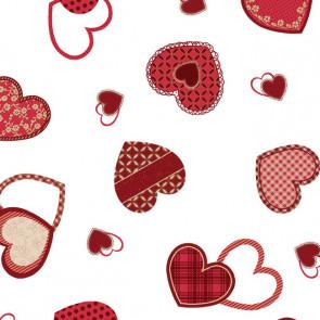 Gennemsigtig julevoksdug - Hjerteland rød