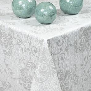Store prikker, sort - Rund akryldug med elastik - Til bord Ø 90 - Ø 130 cm