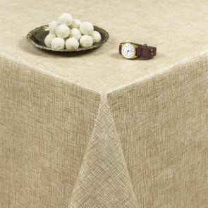 Hessain Look Beige, rund voksdug med elastik - Til bord Ø 60  - Ø 130 cm