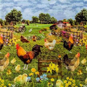 Hønsefarmen, voksdug med høns, kyllinger og hanen