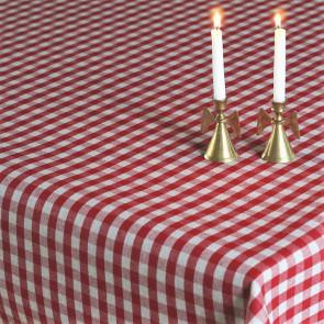 Juledug Rødternet Vichy hør look - akryldug med teflon