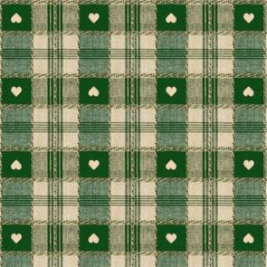 Julevoksdug - Hjerter i Tern grøn 140 cm