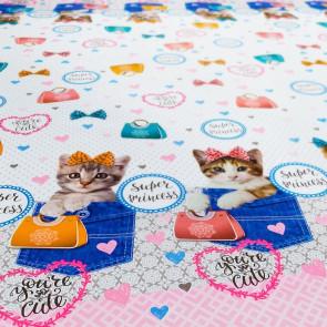 Kitty Bag - Voksdug med kattekillinger