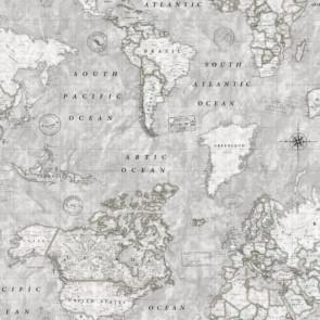 Map Mundi, akryldug med verdenskort  blå
