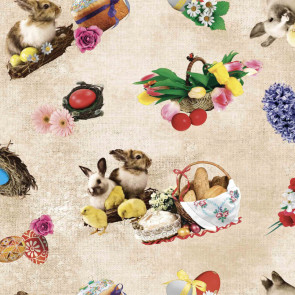 Påske voksdug - Kyllinger og kaniner på kanvas