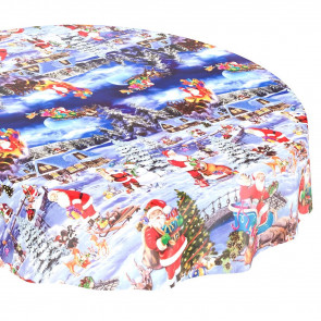Rund julevoksdug Ø 138 cm - HO HO HO Julemanden på arbejde