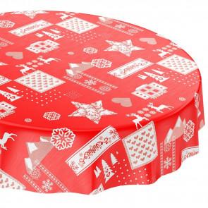 Rund julevoksdug Ø 138 cm - Jul i Tyrol rød