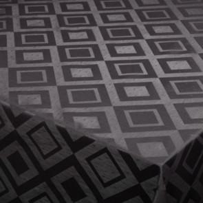 Square Classic, sort voksdug med flot præget mønster, 140cm bred