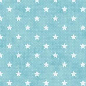 Starlet, lys blå voksdug med hvide stjerner