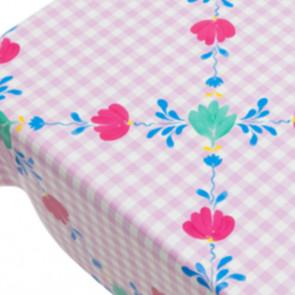 Art Pink, voksdug med tern og blomster, 140 cm bred