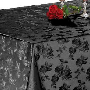 Damask Rose Sort - Voksdug med flot præget damask mønster