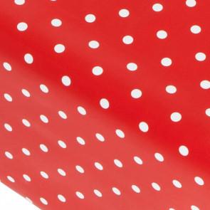 Dot red, rød voksdug med hvide prikker, 140 cm bred