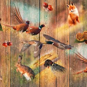 Voksdug med jagt og dyr på træplanker