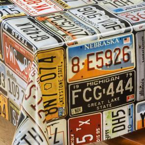 Prøv en tur - Voksdug med kulørte nummerplader til biler
