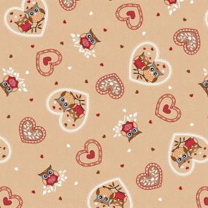 Ugler og Hjerter - Voksdug i beige, rød, hvid, 160 cm bred
